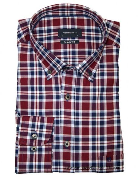 Pertegaz Camisa Cuadros Granates Camisa De Cuadros Ropa Camisas