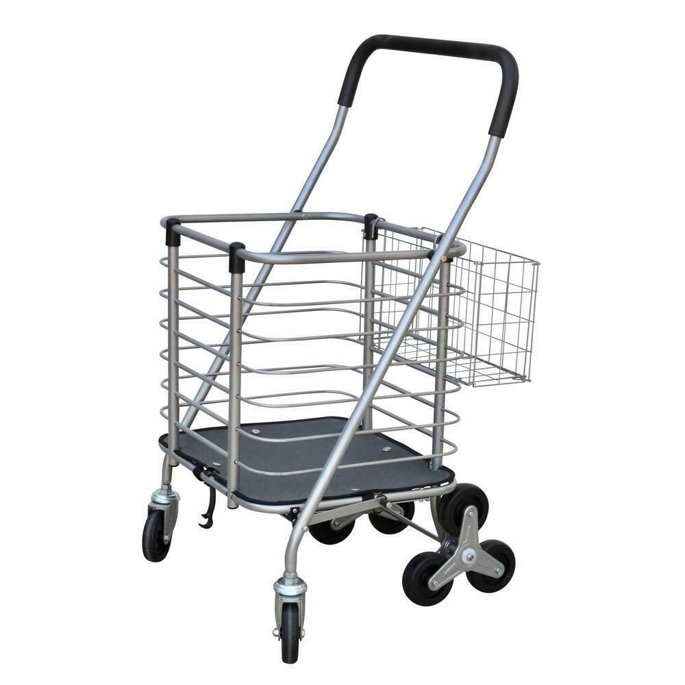 Shopping Cart Design With Accessory Basket In Silver 3 Wheel Steel