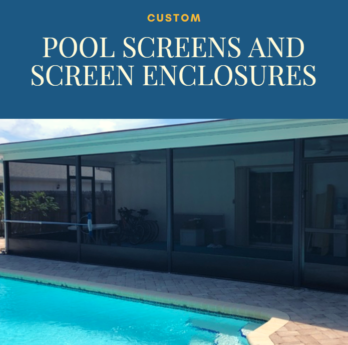 Beat The Heat With Our Custom Pool Screens And Enclosures Our Pool Screens Provide Shade While Helping Keep Your Pool Custom Pools Backyard Safe Swimming Pool