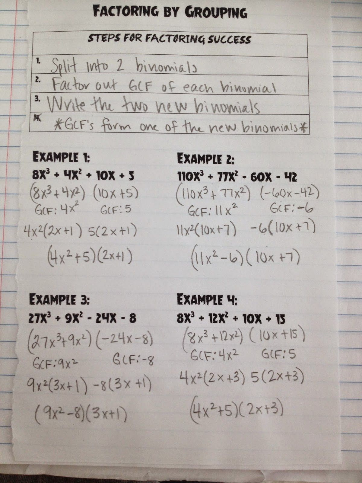 Updated Learning Factor The Four Term Polynomial By Grouping