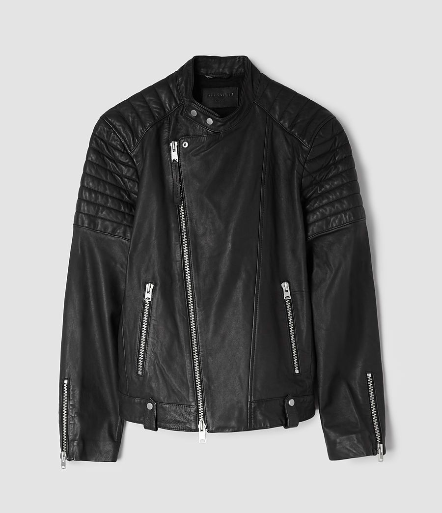 eab3b5221c ALLSAINTS UK  Mens Jasper Leather Biker Jacket (Black) Studded Collar
