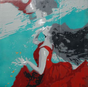 What I like about this artwork is the movement of human body under water. The combination of colours attracts me a lot, the elegance of the red dress. This artwork is a participation piece for the World Stencil Art Prize.