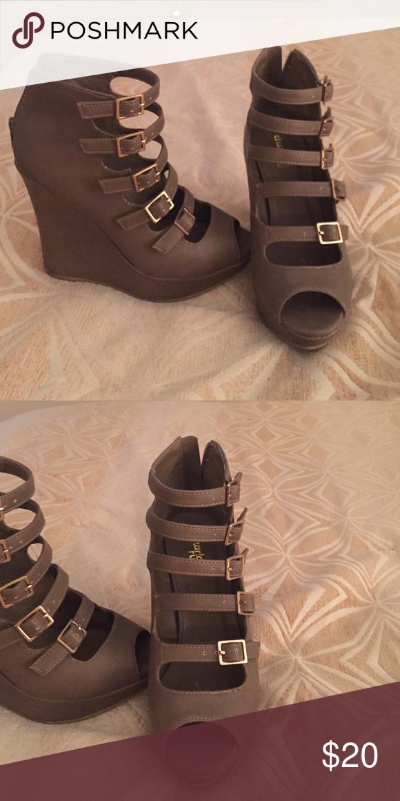 Charlotte Russe Wedges Very cute dark gray/green wedges Charlotte Russe Shoes Wedges