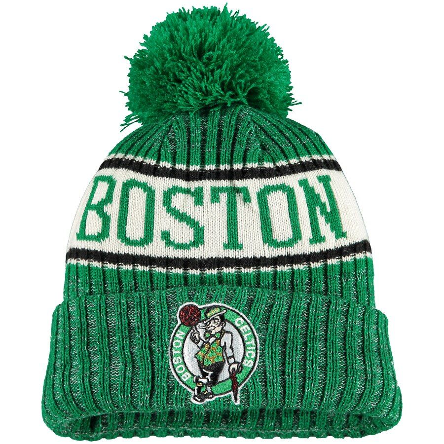 Boston Celtics New Era Youth Sport Pom Cuffed Knit Hat