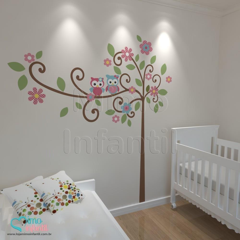 Aparador No Hall De Entrada ~ Adesivos para quarto de beb u00eaÁrvore Sabedoria Corujinhas
