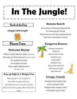 In The Jungle Infant And Toddler Lapsit Rhymes Songs Freebie Rhymes Songs Preschool Jungle Songs For Toddlers