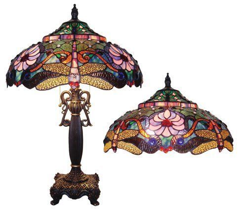 "Chloe CH1B145PD19-TL2 Dragonfly Tiffany Style Stained Glass Table Lamp 19"" Shade #ChloeLighting #StainedGlass"