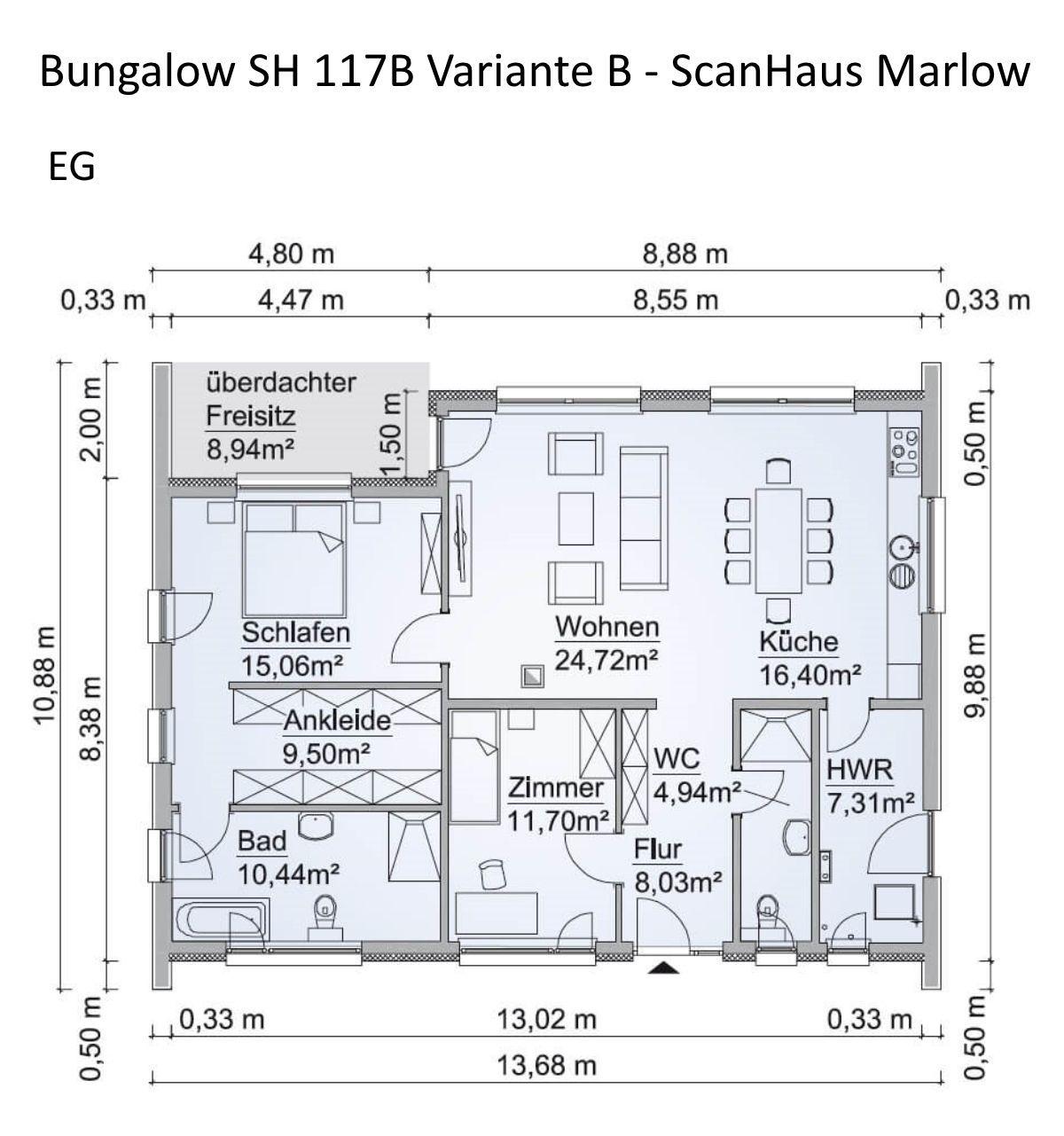 Grundriss Bungalow Haus ebenerdig mit Satteldach