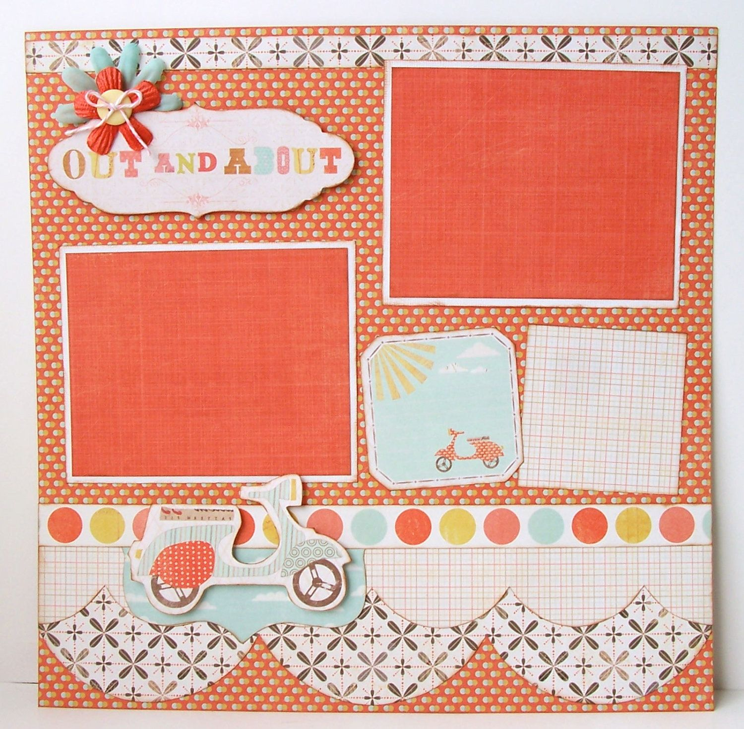 How to scrapbook 8x8 layouts - Out And About Premade 1 Page 12x12 Scrapbook Layout 8 95 Via Etsy