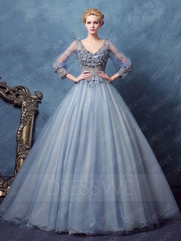 Vintage Long Sleeve Deep V Neck Applique Ball Gown Dress   Beauty ...