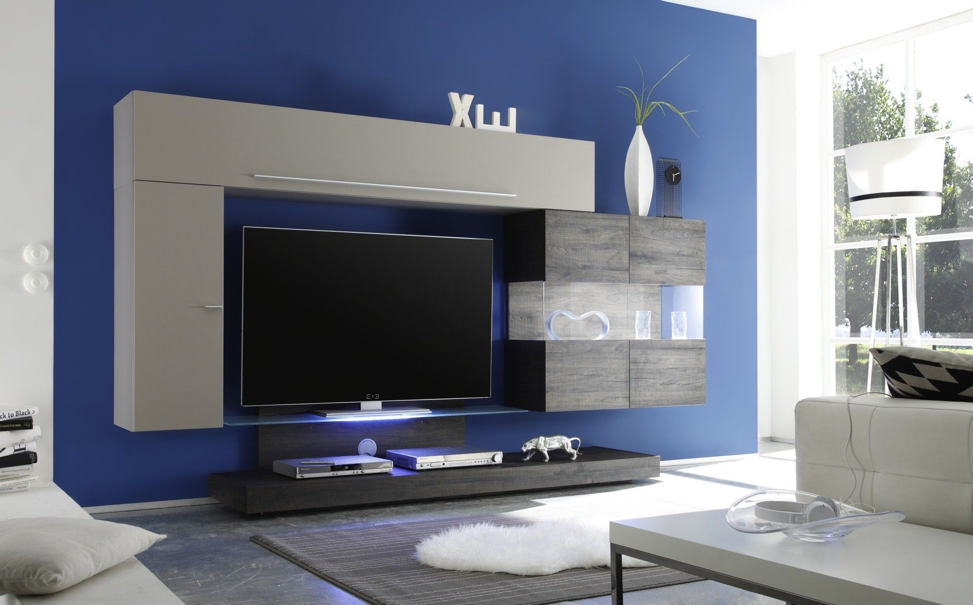 Composition Tv Murale Design Gris Mat M Lamin Gris Georgia Tv  # Meuble Modulable Tv