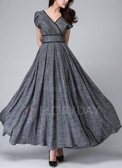Kleider - $66.99 - Leinen Solide kurze Ärmel Maxi Elegant Kleider (1955137001)