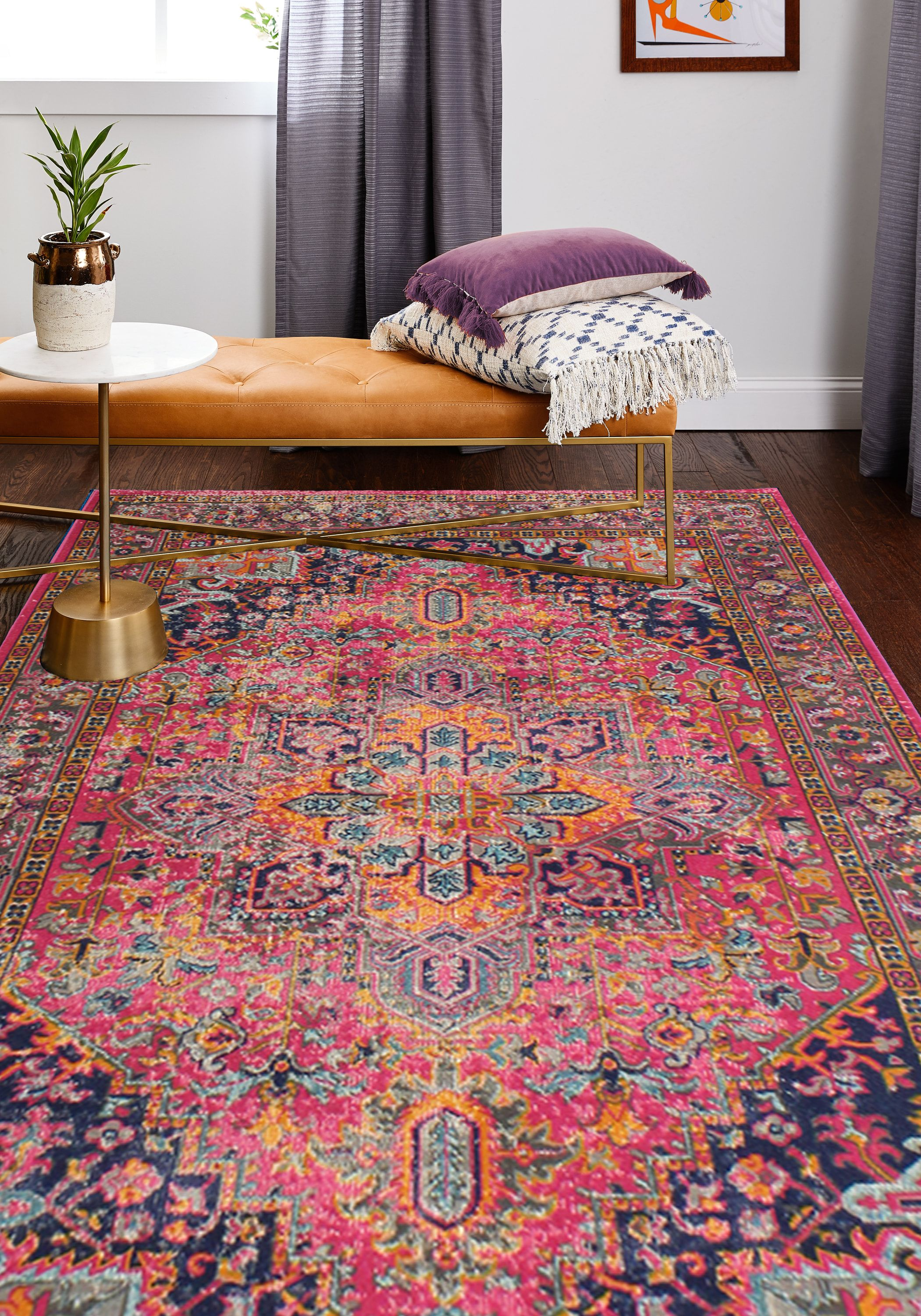 Bright Boho Persian Rug Hot Pink Orange Navy Blue