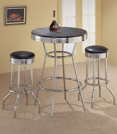 3pcs Retro Fountain Style Black Chrome Finish Bar Table 2 Stool Set ...