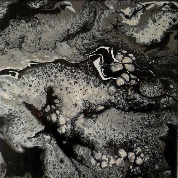 Petit tableau mural abstrait noir blanc argent