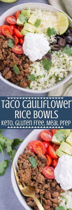 Taco Cauliflower Rice Bowls #lowcarbyum