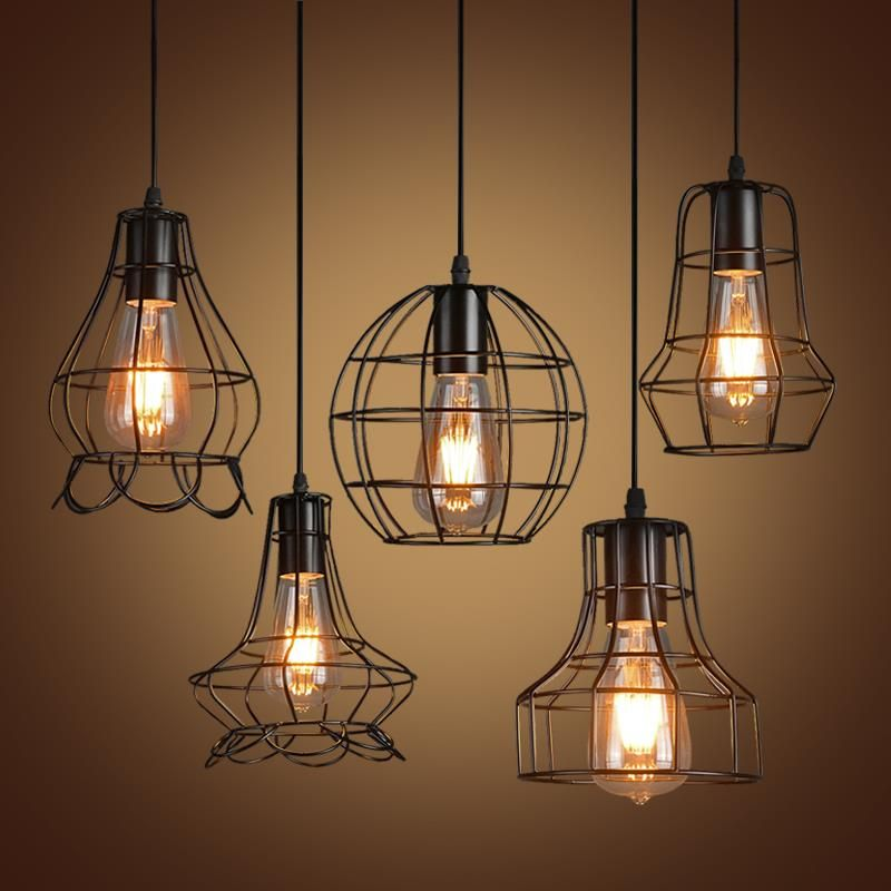 pas cher r tro fer pendentif lumi res lampe vintage loft restaurant chambre salon e27 birdcage. Black Bedroom Furniture Sets. Home Design Ideas