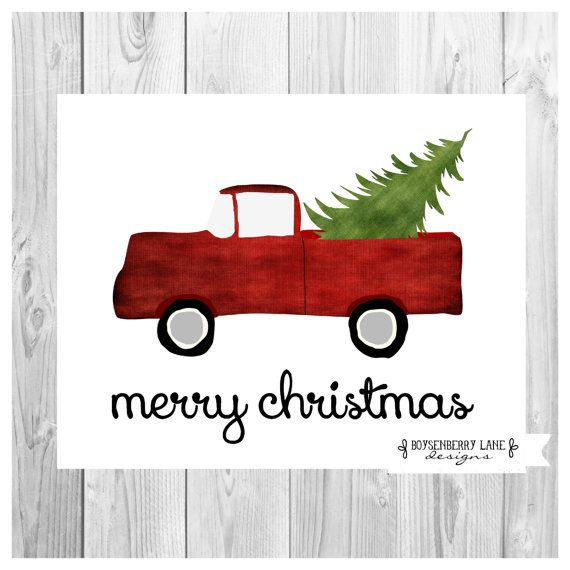 Vintage Red Truck with Tree - Christmas Rustic Holiday Digital ...
