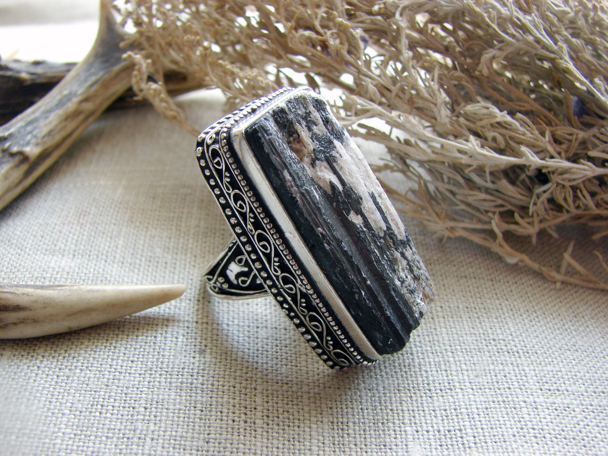 Black tourmaline schorl witch ring big raw stone powerful