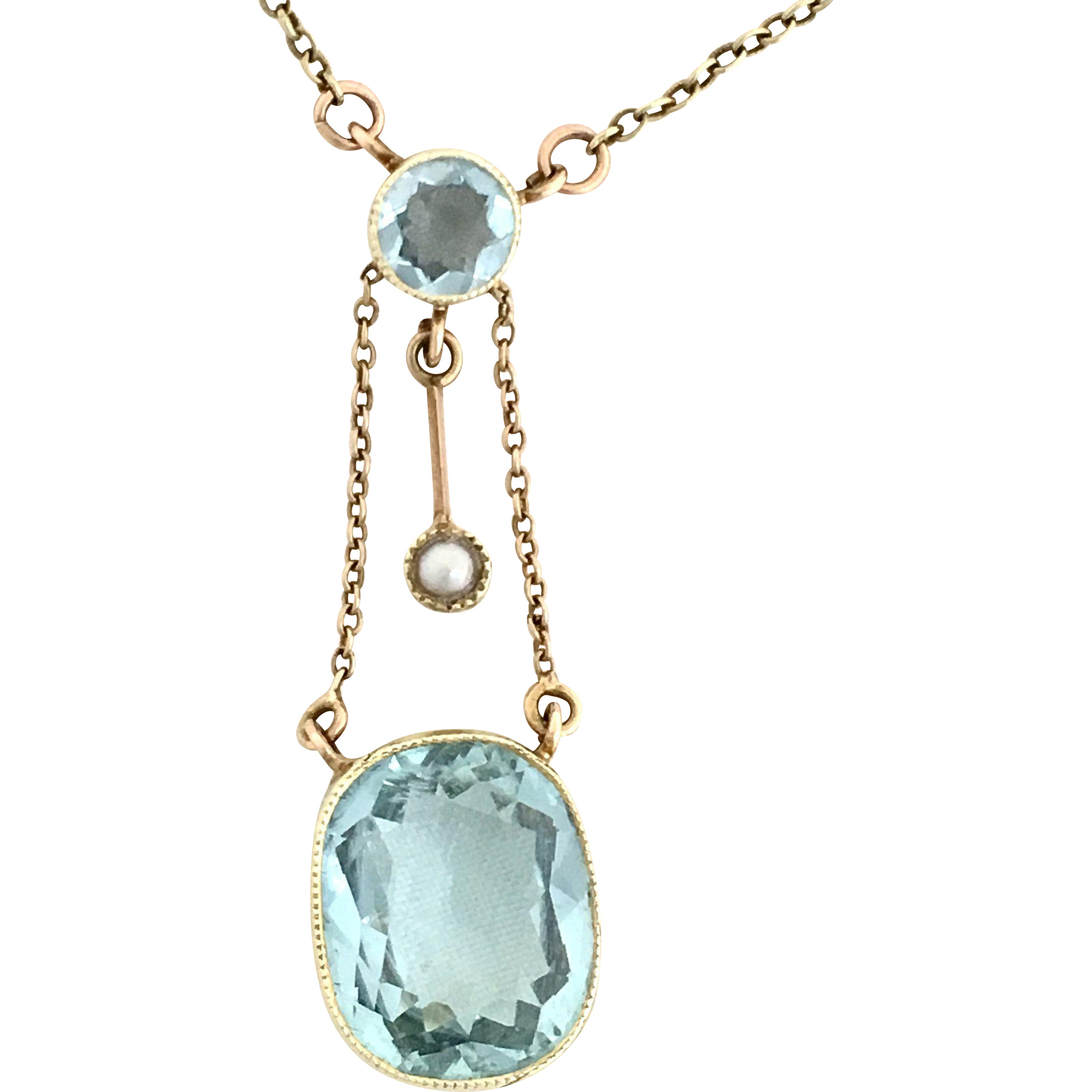 Antique edwardian k gold seed pearl and aquamarine drop necklace