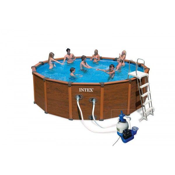 piscine tubulaire avec aspect bois intex sequoia spirit 4.78 x