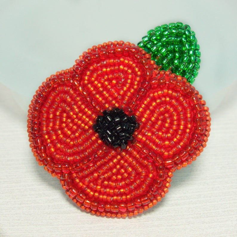 Poppy Brooch Red Beaded Flower Pin Remembrance Day Gifts