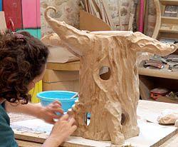 Fabrication en papier d 39 un arbre feerique pendant le stage papier arbres en papier arbre - Fabrication maison en carton ...