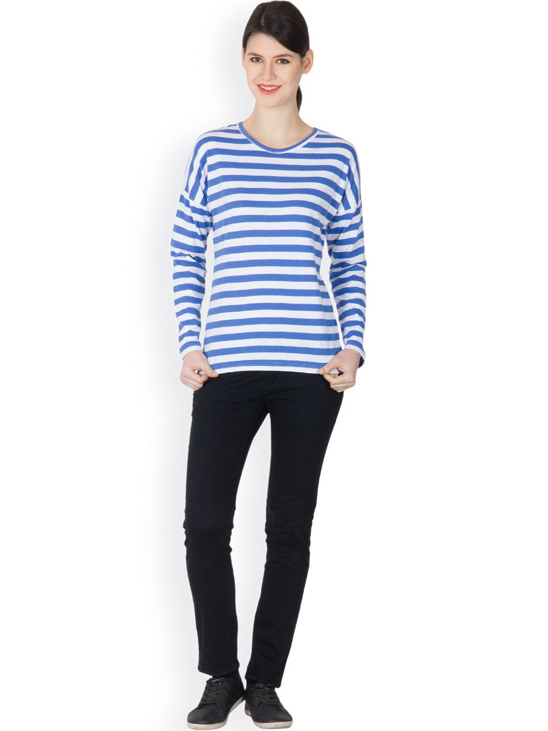 Glossy Blue Color With White Stripped Casual Round Neck Women T-Shirts For Our Western Indian Womens