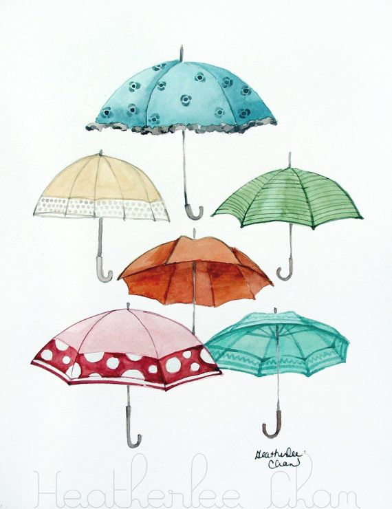 Umbrella Collection - Watercolor Art Print