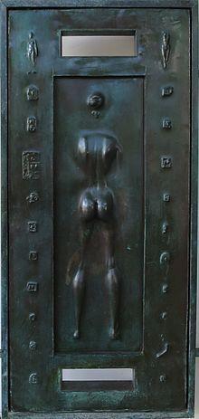 Detail Of Front Doors Of Spalding House By Robert Graham, Cast Bronze, 1988.