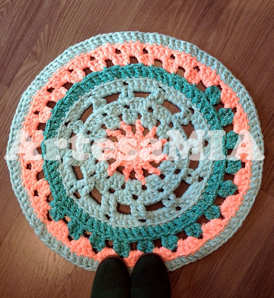 Xl Rag Rug: Crochet Carpet, Crochet Mat