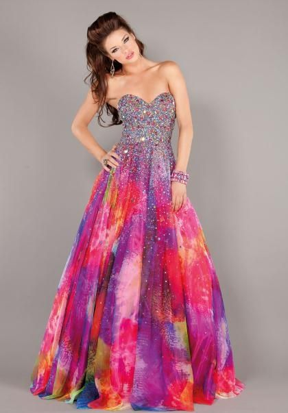 Cheap tie dye prom dresses