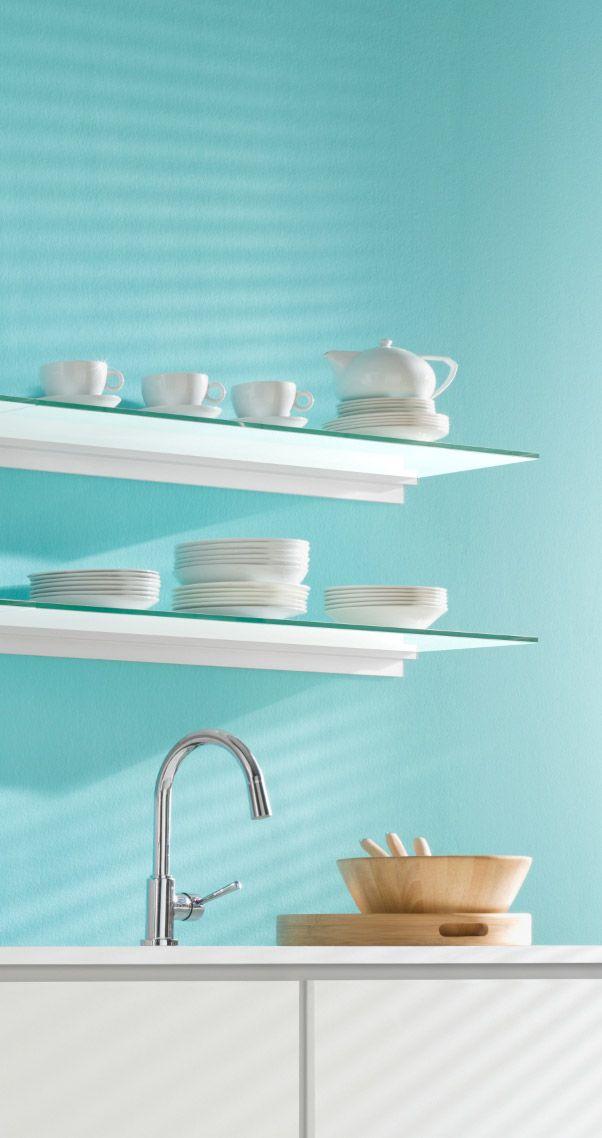Farbneutrale Glasregale in der Küche Küchen-Regale Pinterest