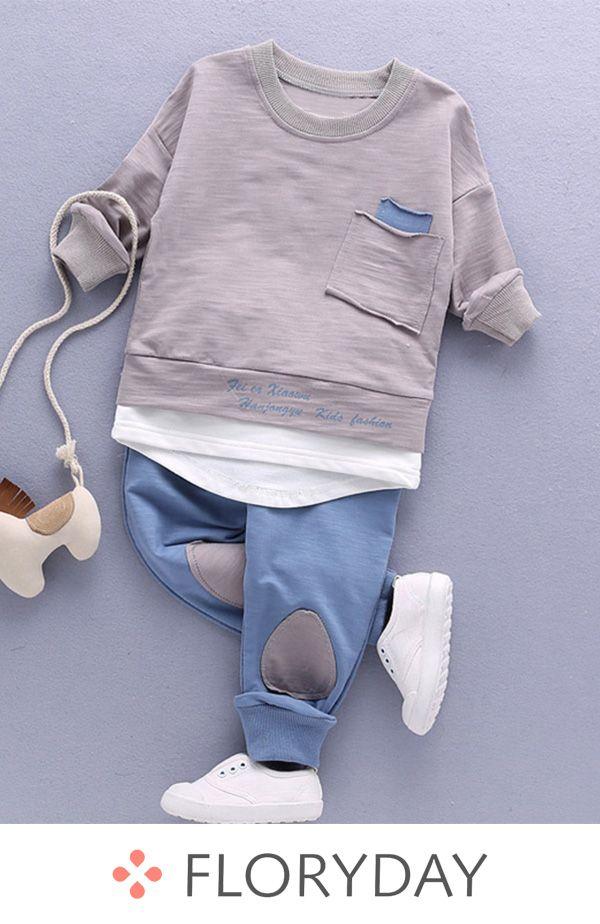 Boys' Basic Color Block School Long Sleeve Clothin