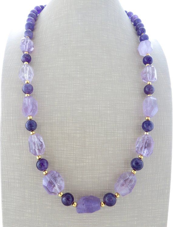 Photo of Amethyst necklace, lavender stone necklace, chunky necklace, long purple necklace, beaded necklace, contemporary jewelry, italian jewelry