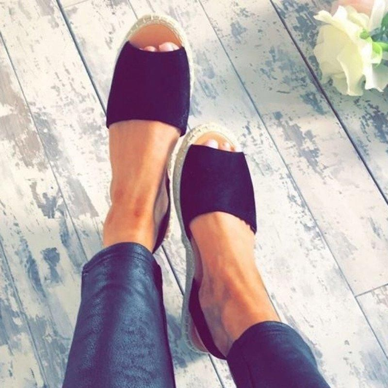 dfa8edacda9a Women Summer Espadrilles Fashion Peep Toe Sandals Flat Sandals – NORACORA