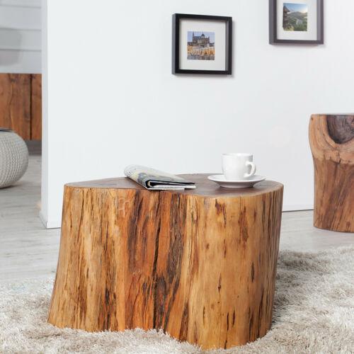 Massiver Holz Couchtisch GOA 50cm Baumstamm Hocker aus