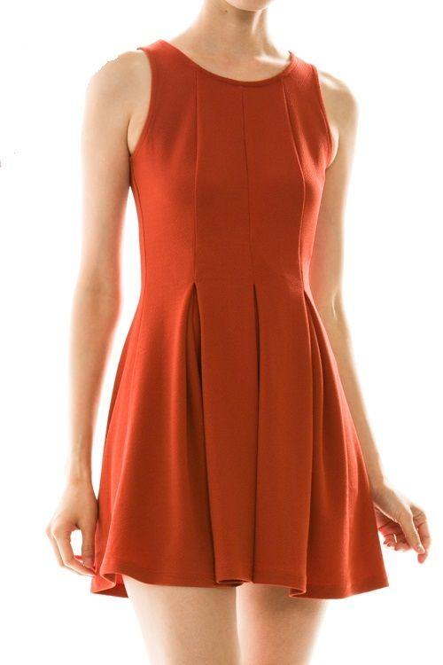 8897c520b1 Burnt Orange Skater Dress Longhorn Fashions