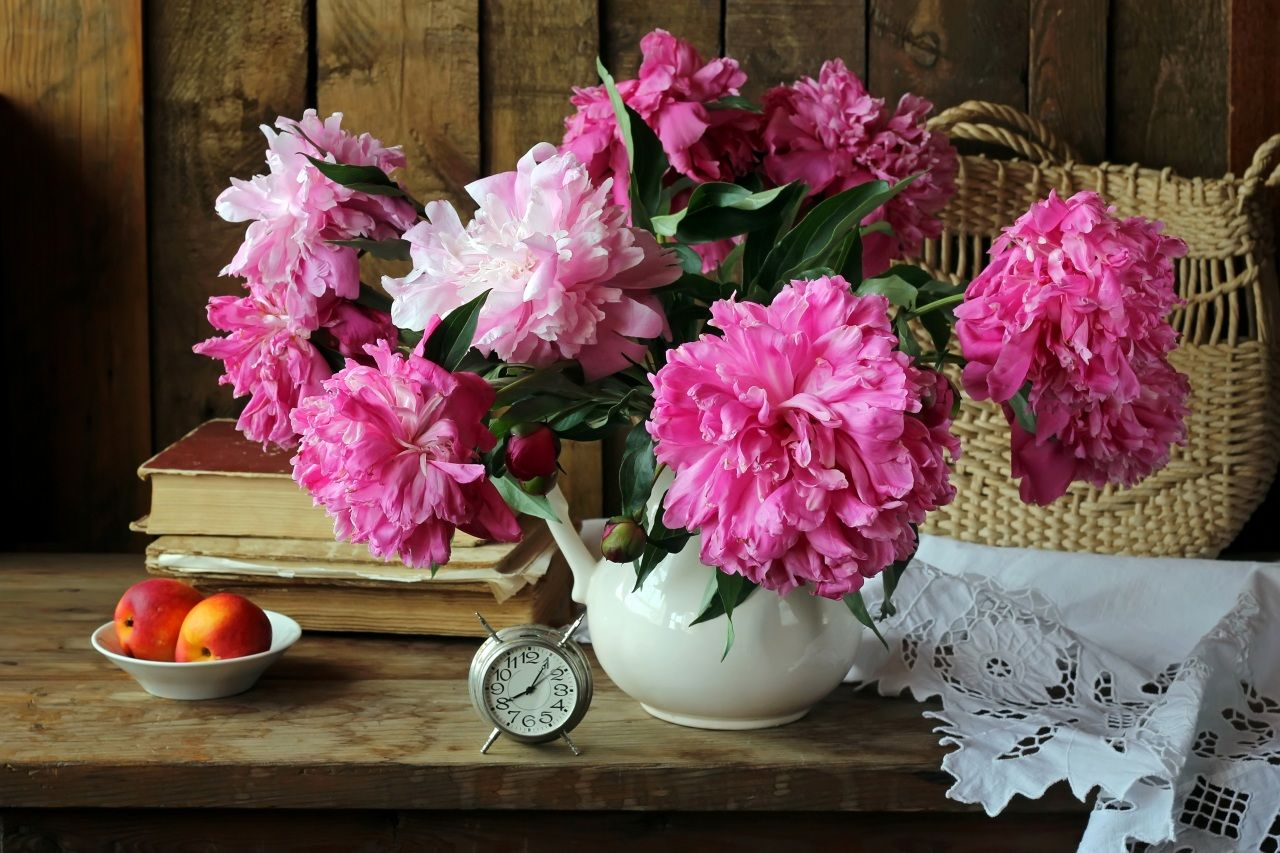 still life peonies clock peaches pink color book flowers still