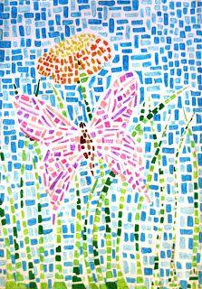 mosaic with felt-tip pens creation