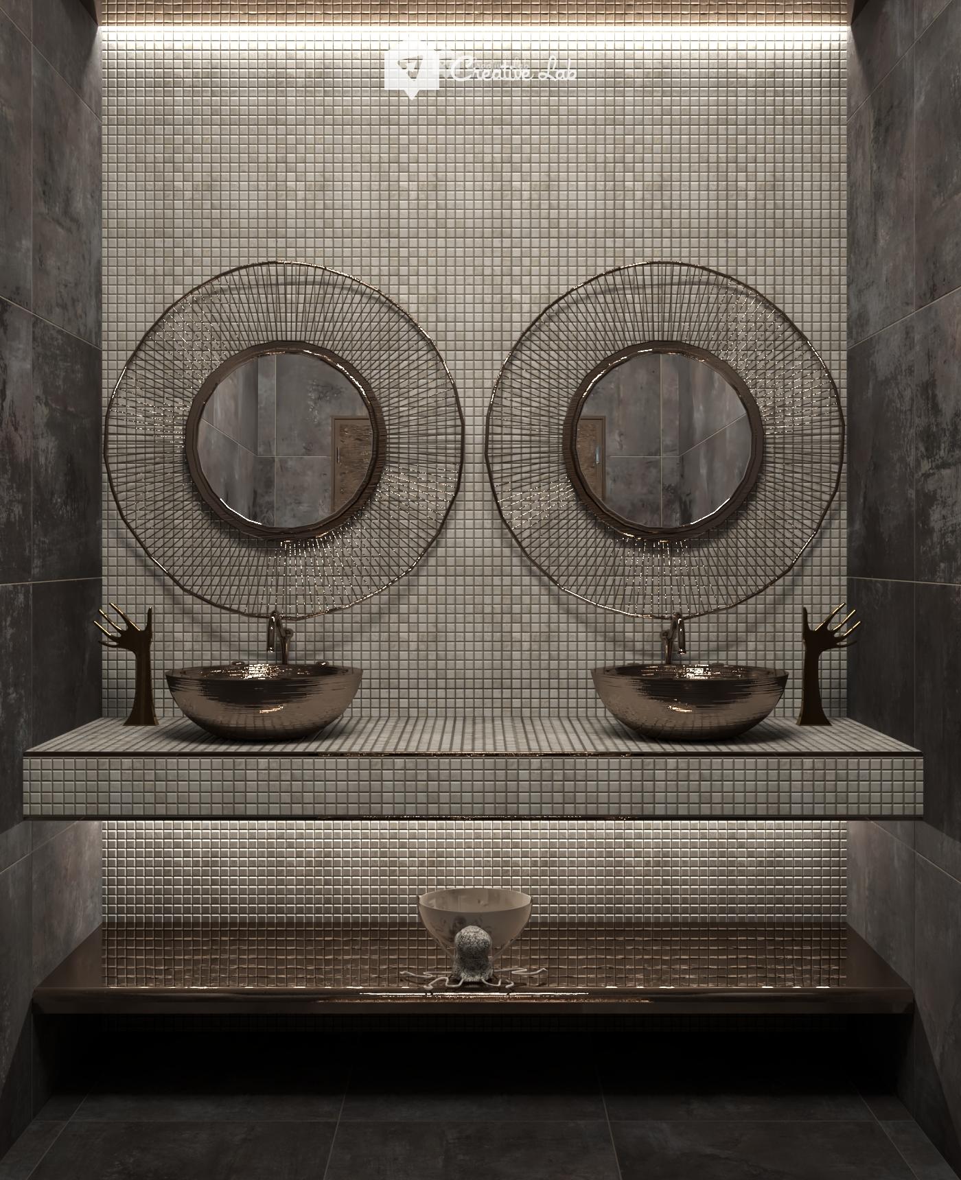 Wada Wash Room Round Mirror Bathroom Bathroom Mirror Room Interior