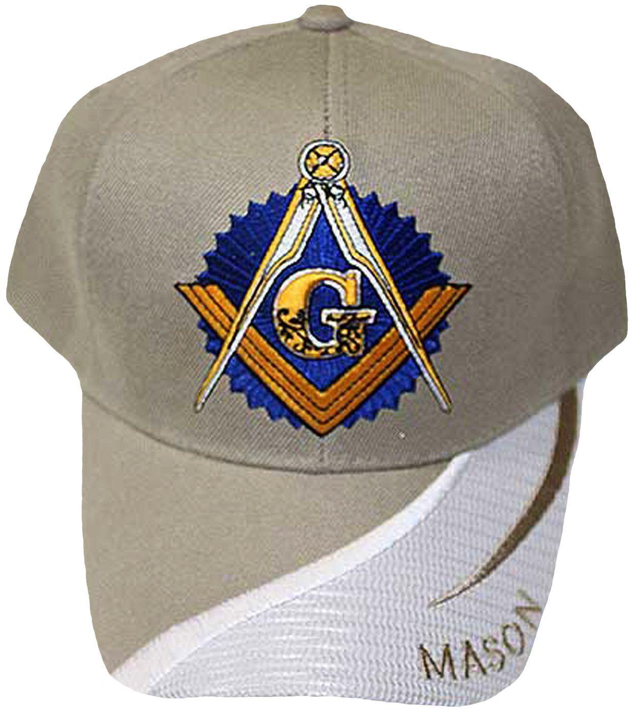 8758cea4e54c7 Tan and White Masonic Baseball Cap Master Mason Logo Hat for Freemasons  Shriners Prince Hall Masons Headwear