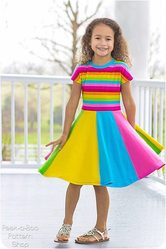 Little Miss Sunshine Dress & Tee: Dolman Tee Pattern, Twirly Dress ...
