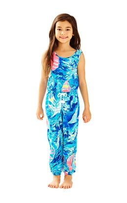 b3b7d24ad Girls Imogen Jumpsuit In Sparkling Blue Hey Bay Bay: $78 Lilly Pulitzer  Prints, Jumpsuits