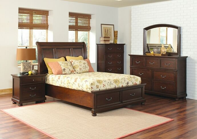 """5 Pc. Traditional Style Hannah Brown Cherry Finish Queen Bedroom Collection Set. This collection features a platform-like sleigh bed with two storage drawers at the foot of the bed to keep personal items neatly stowed away.  This bedroom set contains: (1) Queen Bed measures: 94.5""""L x 65.75""""W x 60""""H, (1) Nightstand measures: 30""""L x 18""""W x 28""""H, (1) Dresser measures: 68""""L x 19""""W x 45""""H, (1) Mirror measures: 50""""L x 2.25""""W x 36""""H, and Chest measures: 42""""L x 19""""W x 58""""H. SKU CST200831Q"""