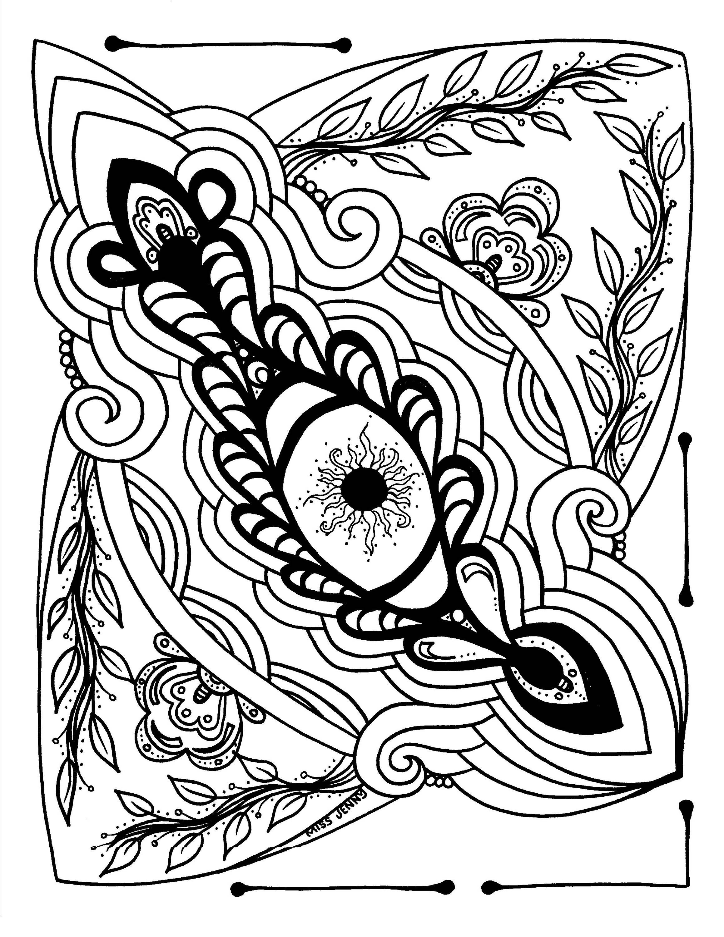 Eye Love Art Therapeutic Coloring Page Or Tattoo By MissJennyDesignsUS On Etsy