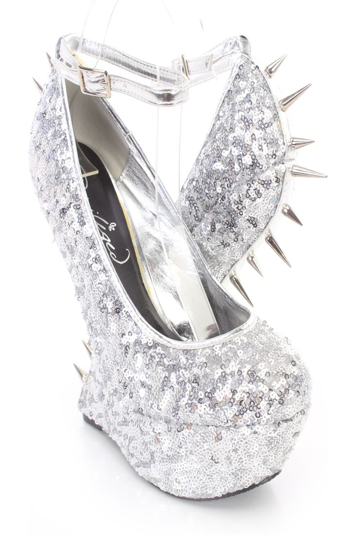 Silver Spike Trim Anti Gravity Wedges Sequins Shoes