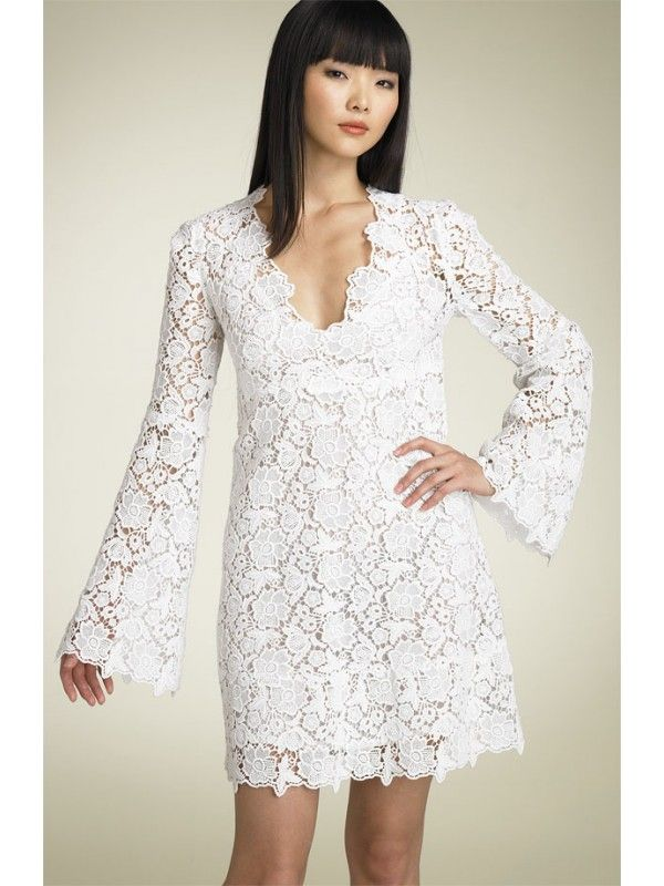 White designers short dress | White Lace Wedding Dress Design With ...