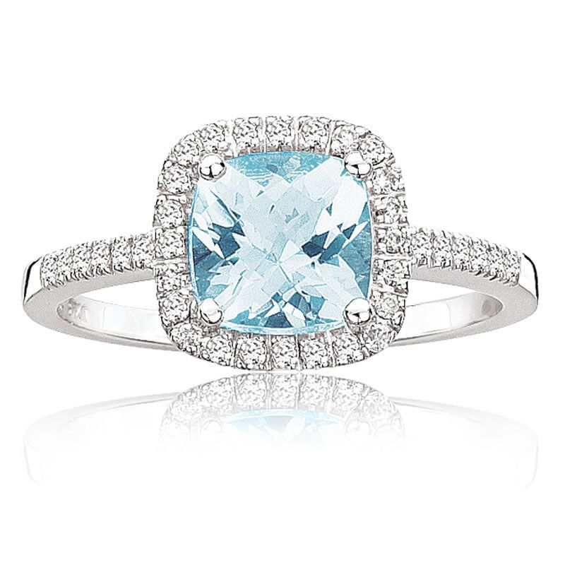 Aquamarine Diamond Halo Ring In 10k White Gold Gold Band Diamond Ring Vintage Engagement Rings Sterling Silver Jewelry Rings