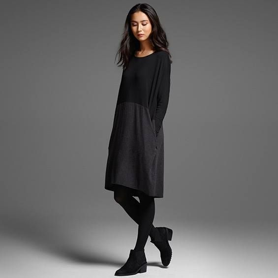 Fall 2015- Mixed media tunic dress, easy wear and modern - very Eileen Fisher.